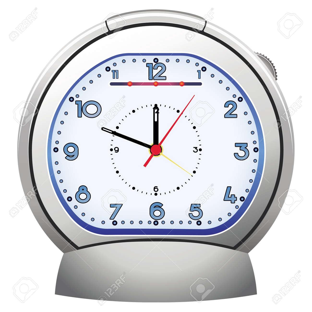 silver alarm clock illustratoin Stock Vector - 11273368