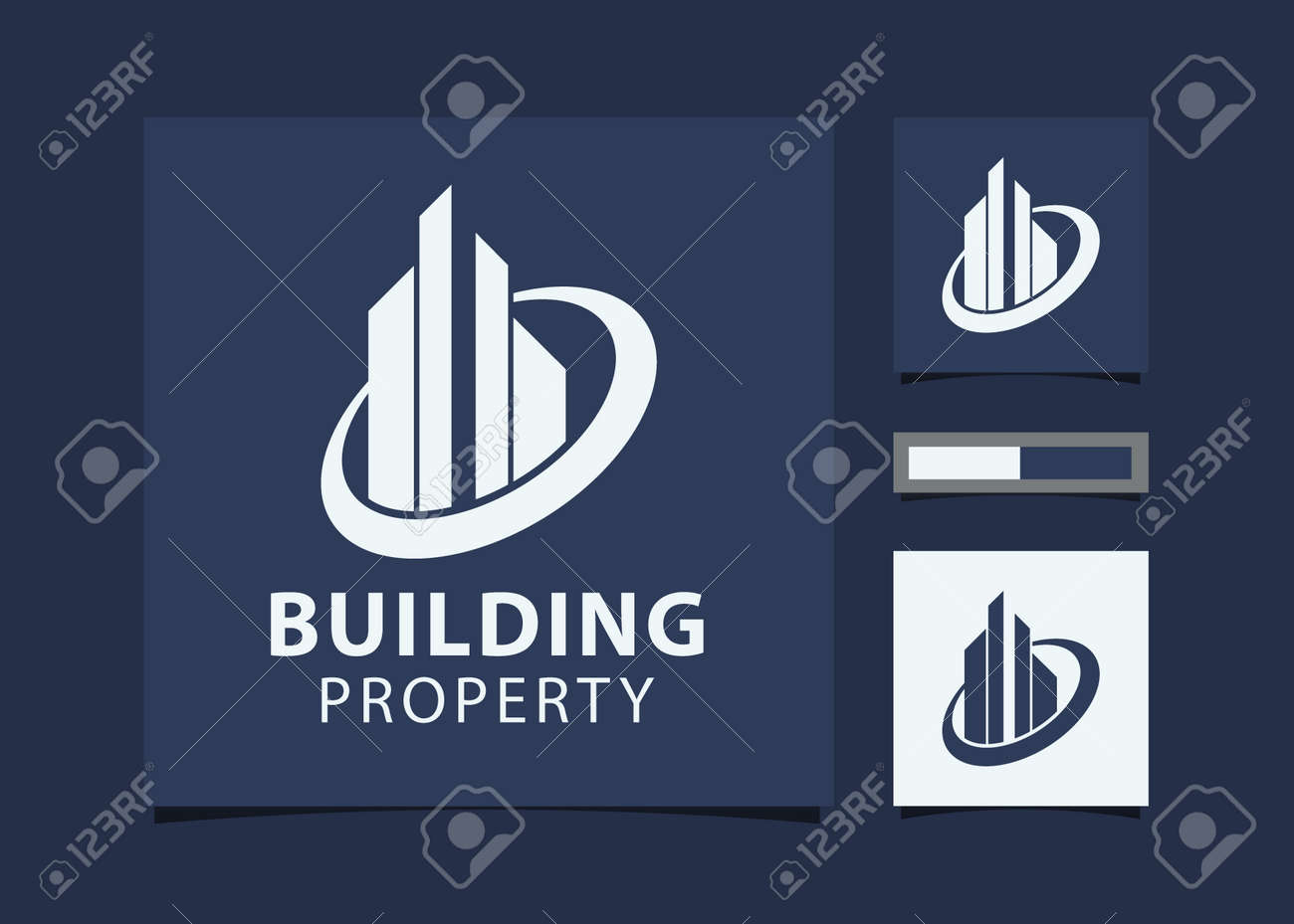 Abstract Building design for real estate, property business with mockup id card. - 169903954