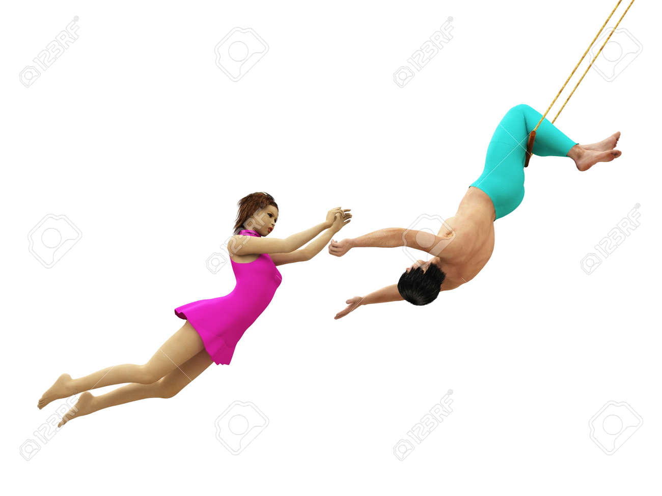 Male catcher prepares to catch female flying trapeze artist, isolated on white Stock Photo - 14048288