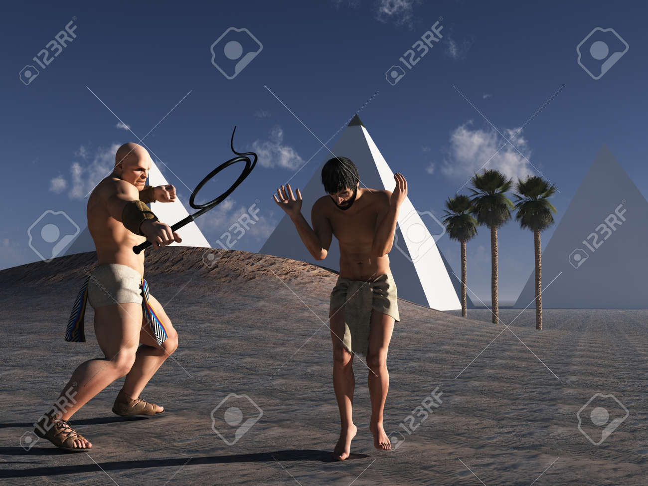 Ancient Egyptian overseer and cowering slave - 14032898