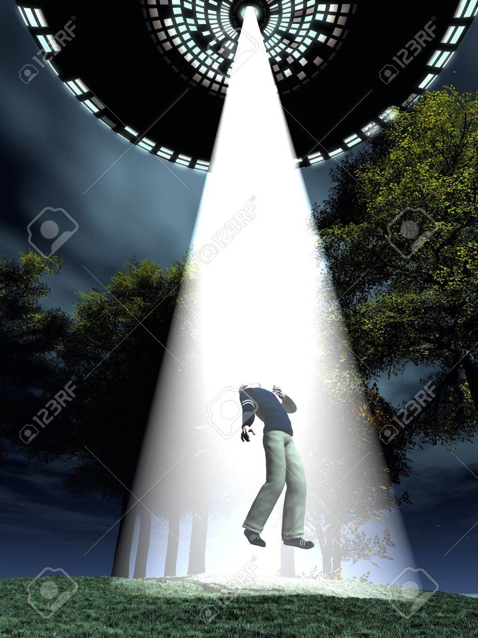 Flying saucer uses tractor beam to abduct subject Stock Photo - 14648473