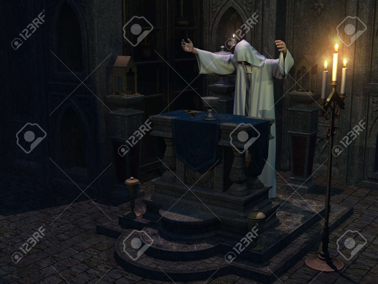 Occult Priest In Hooded White Robe With Arms Outstretched Performs Stock Photo Picture And Royalty Free Image Image 15285951