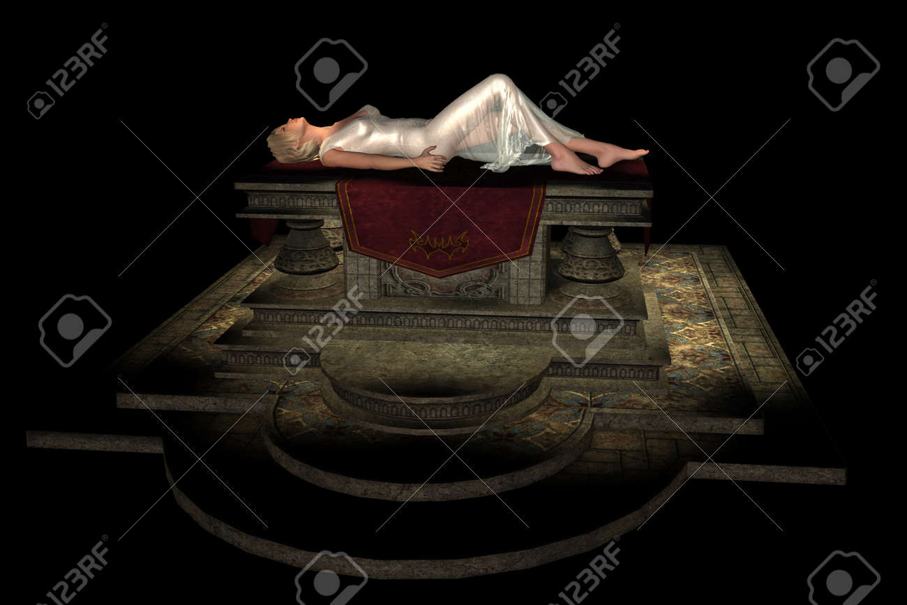 Beautiful blonde virgin in white diaphanous gown lying on stone sacrificial altar - 15285947