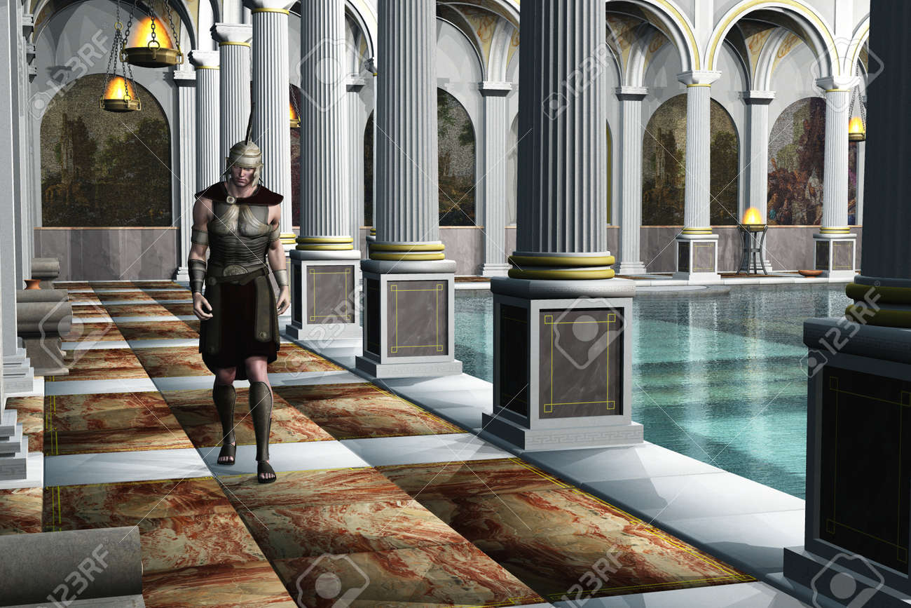 Uniformed Roman Centurion Walks Beside The Pool In Ancient Luxury ...