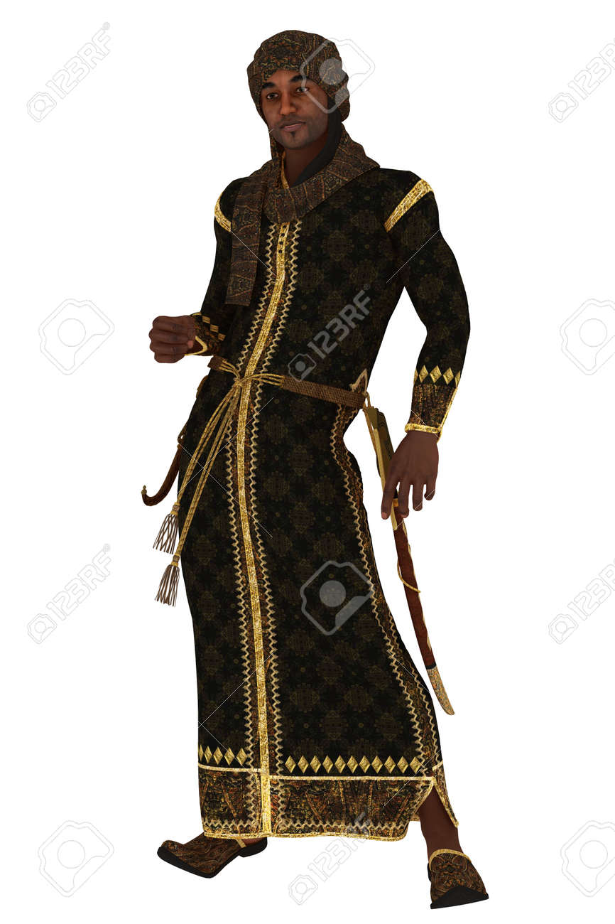 Fantasy Arabian Nights Figure In Long Robes And Turban With Sheathed Stock Photo Picture And Royalty Free Image Image 24086161