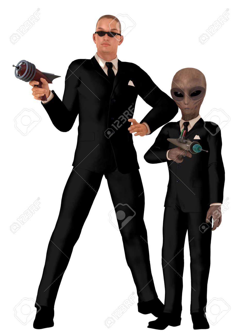 bac7016a97 Stock Photo - Two men in black one human with sunglasses and the other  alien both wearing identical black suits and neckties with white shirts and  carrying ...
