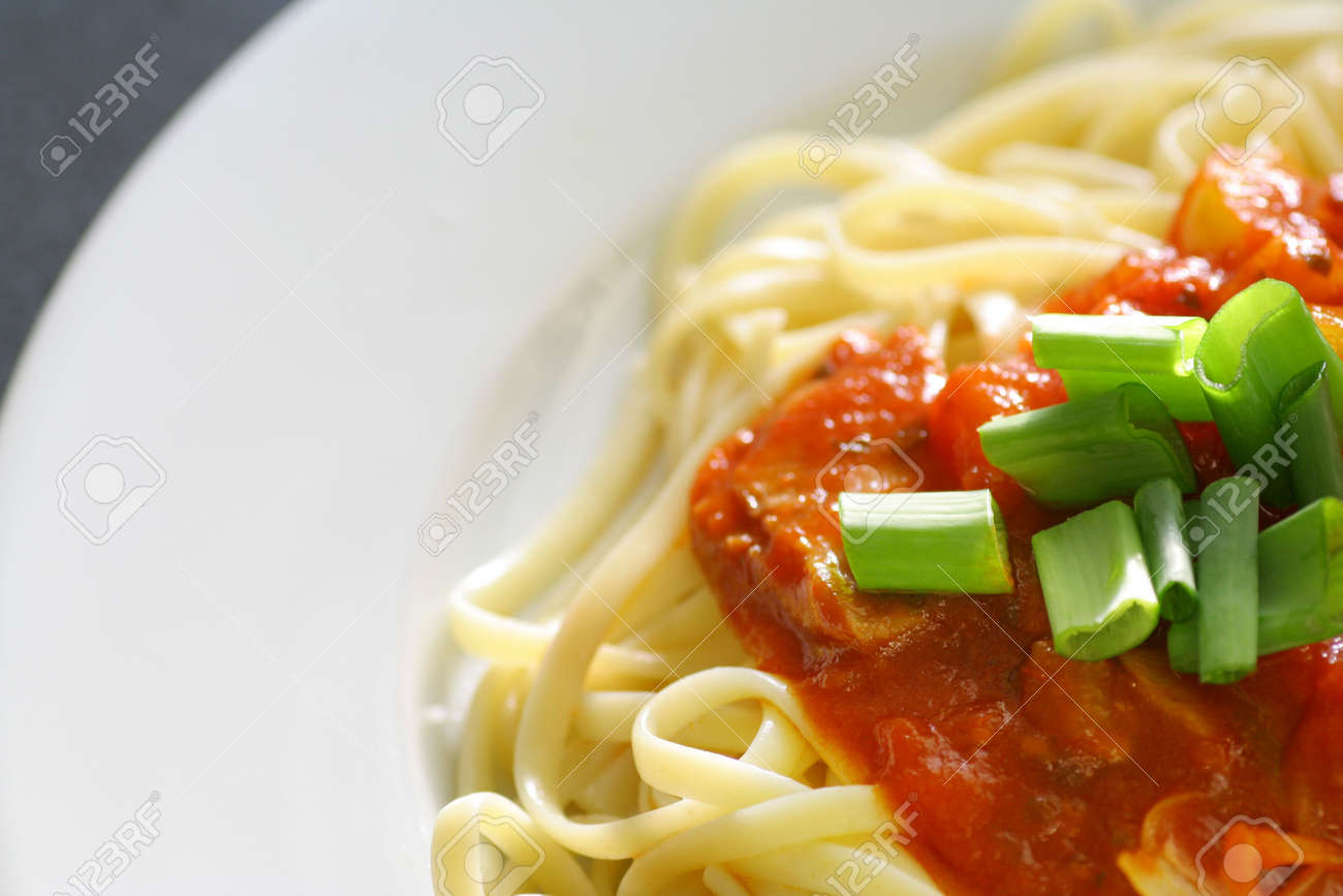 Plate of spaghetti with tomato sauce. Stock Photo - 703251