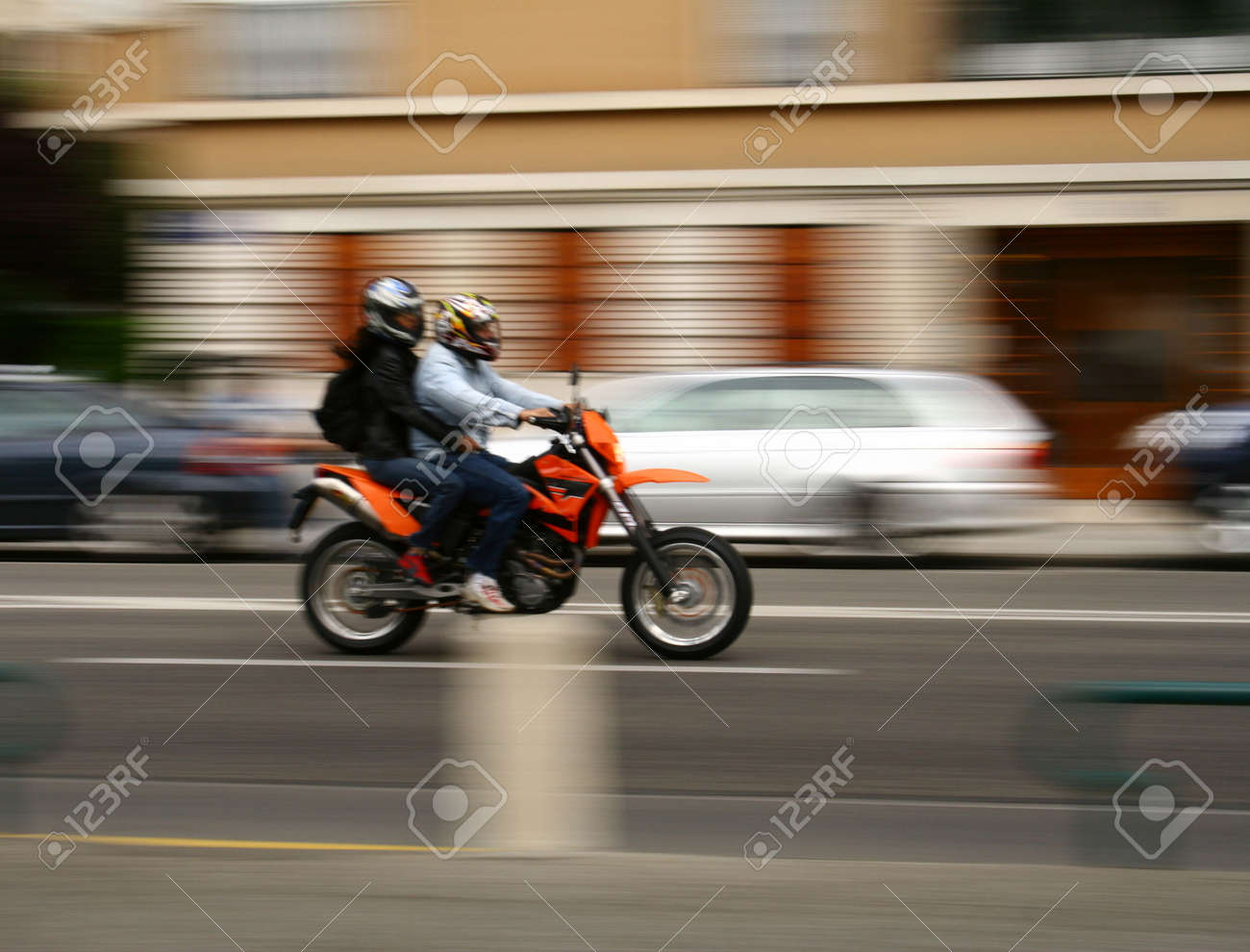 Panning shot of a moving vehicle on the road. Stock Photo - 702342