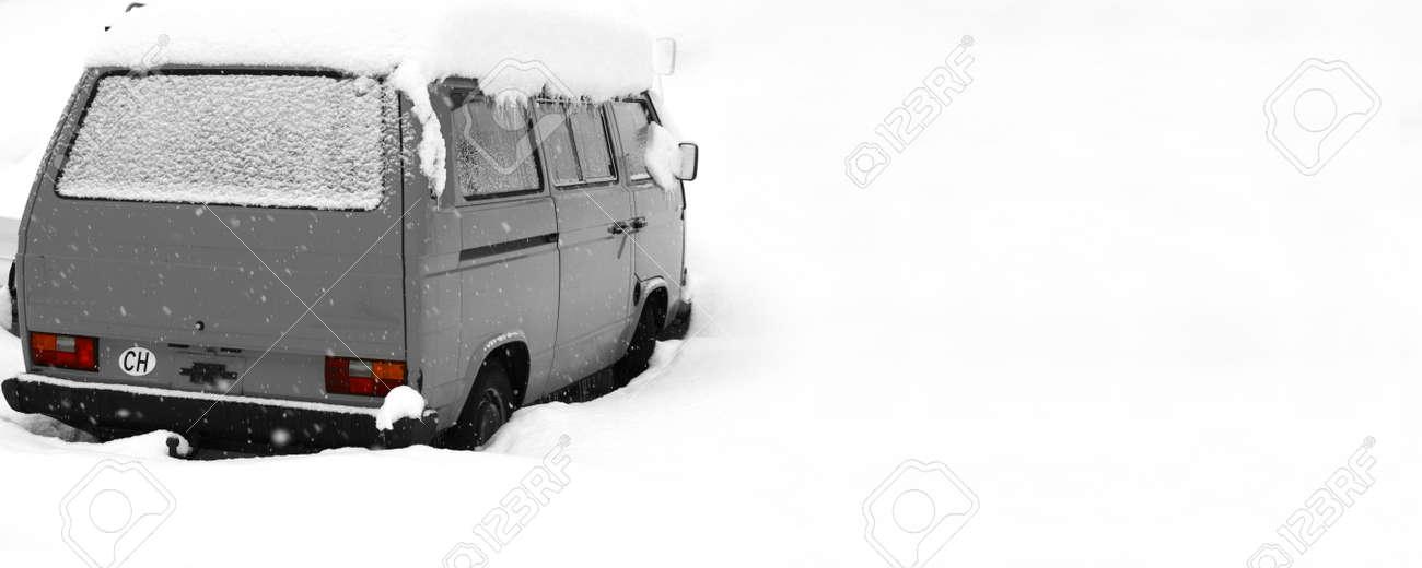 Van covered deep in snow. Stock Photo - 709981