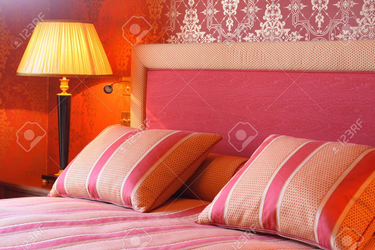 Regal bedroom with comfy pillows and duvet. Stock Photo - 753409