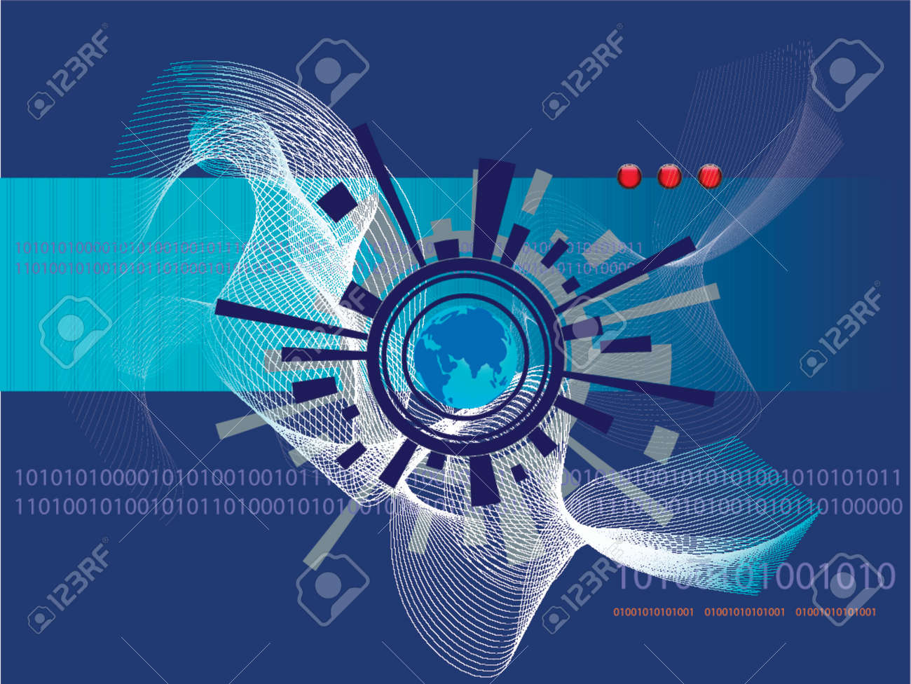 Vector - Futuristic world map with binary codes - ones and zeros. Stock Vector - 879677