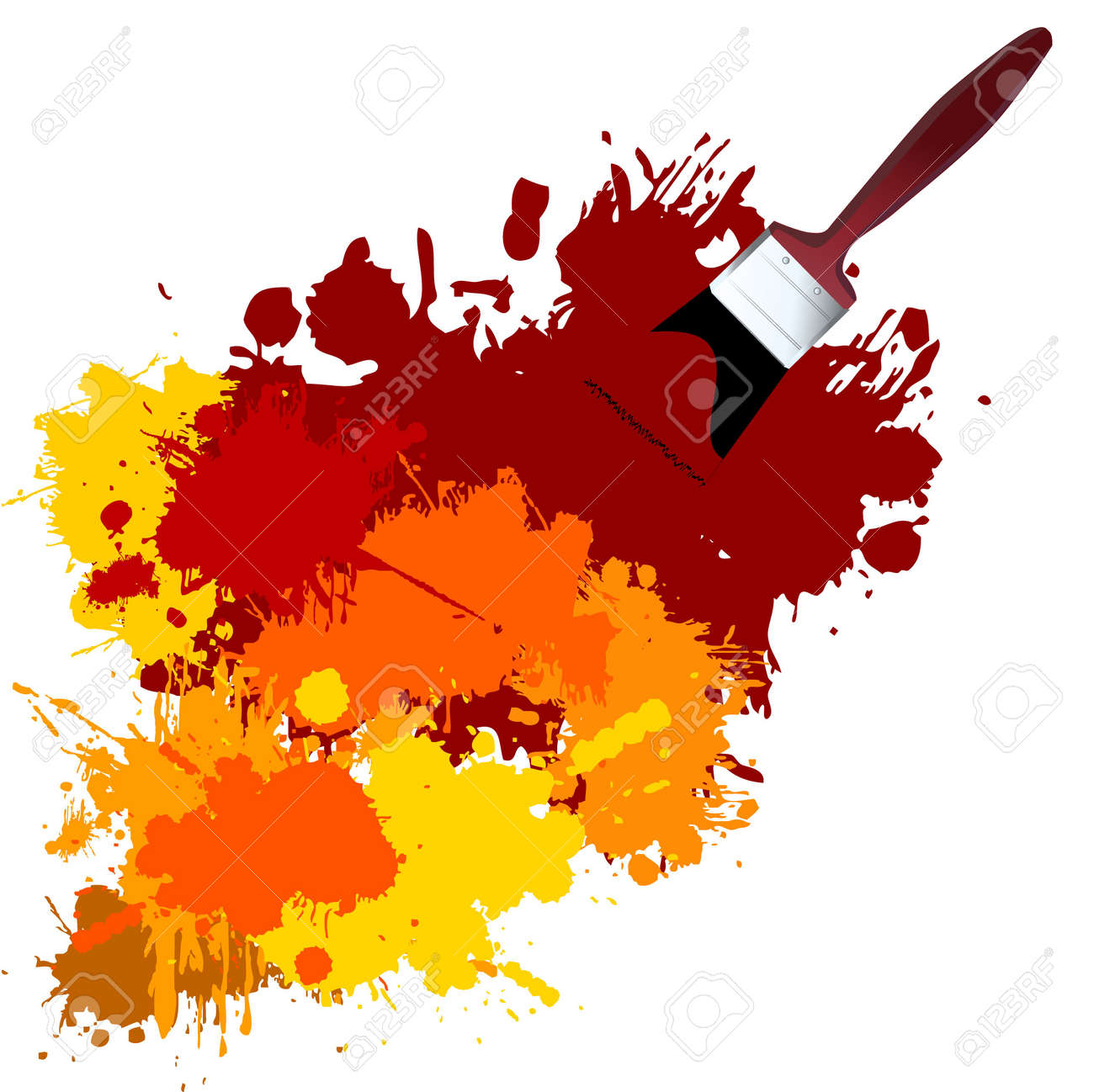 Vector - Colorful paint on a white canvas with a paintbrush. Stock Vector - 1390753
