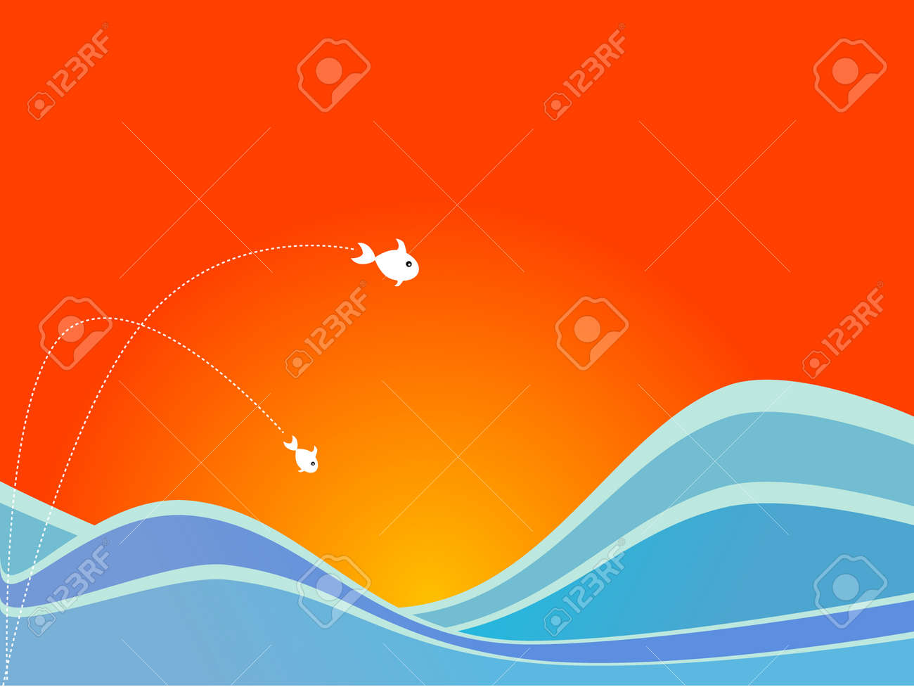 Fish flying out of the sea into the air against a sunny background. Stock Vector - 1390870