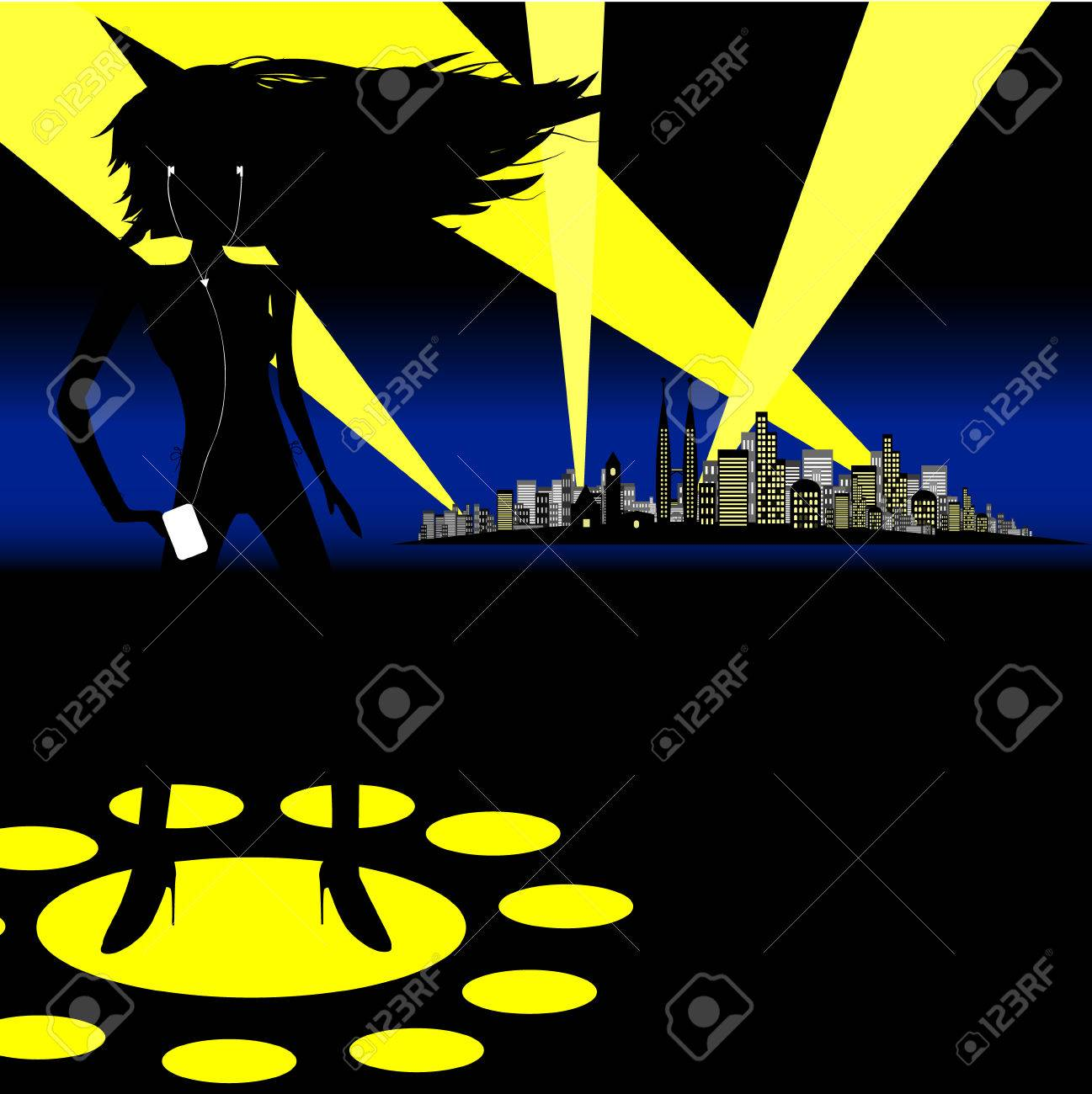 Vector - Woman dancing on spotlights with a city in the background. Concept: Woman partying. Stock Vector - 1480898