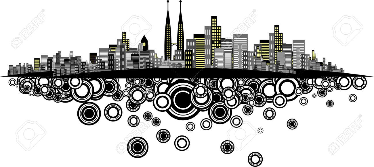Vector - Brightly lit modern city with retro rings. Stock Vector - 1519286