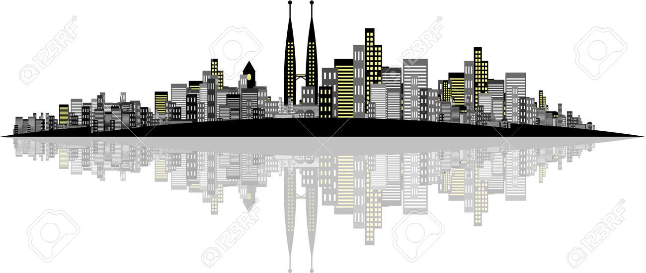 Vector - Brightly lit modern city with reflections. Stock Vector - 1862285