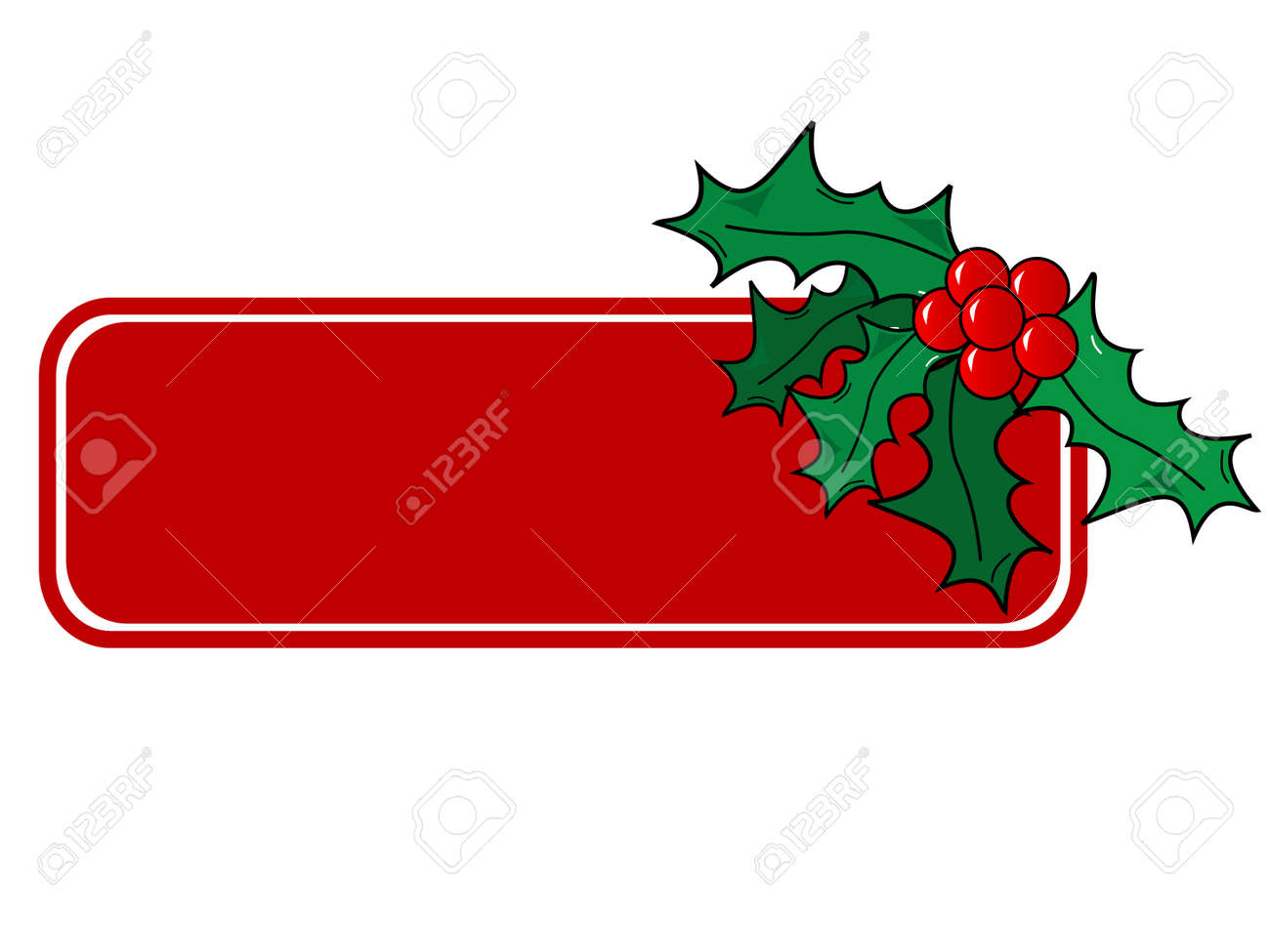 Christmas vector holly ornament with a space for text message. Stock Vector - 1977781