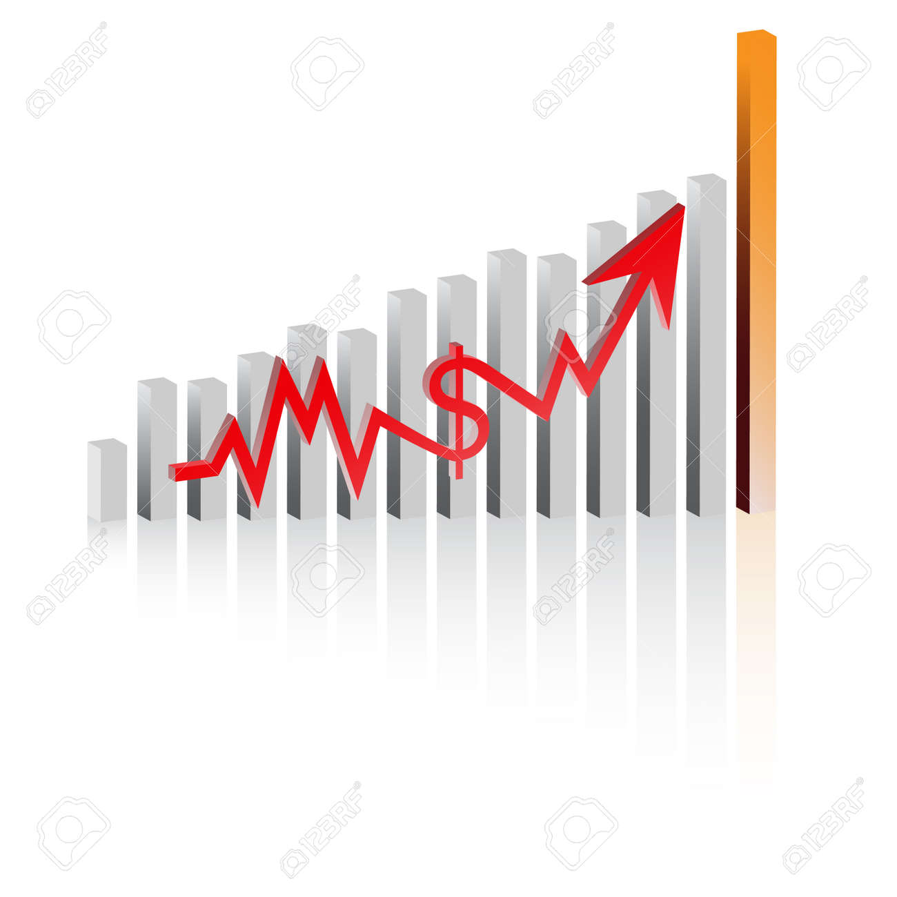 Vector - Graph showing rise in profits or earnings in 3D with drop shadow. Stock Vector - 2406151