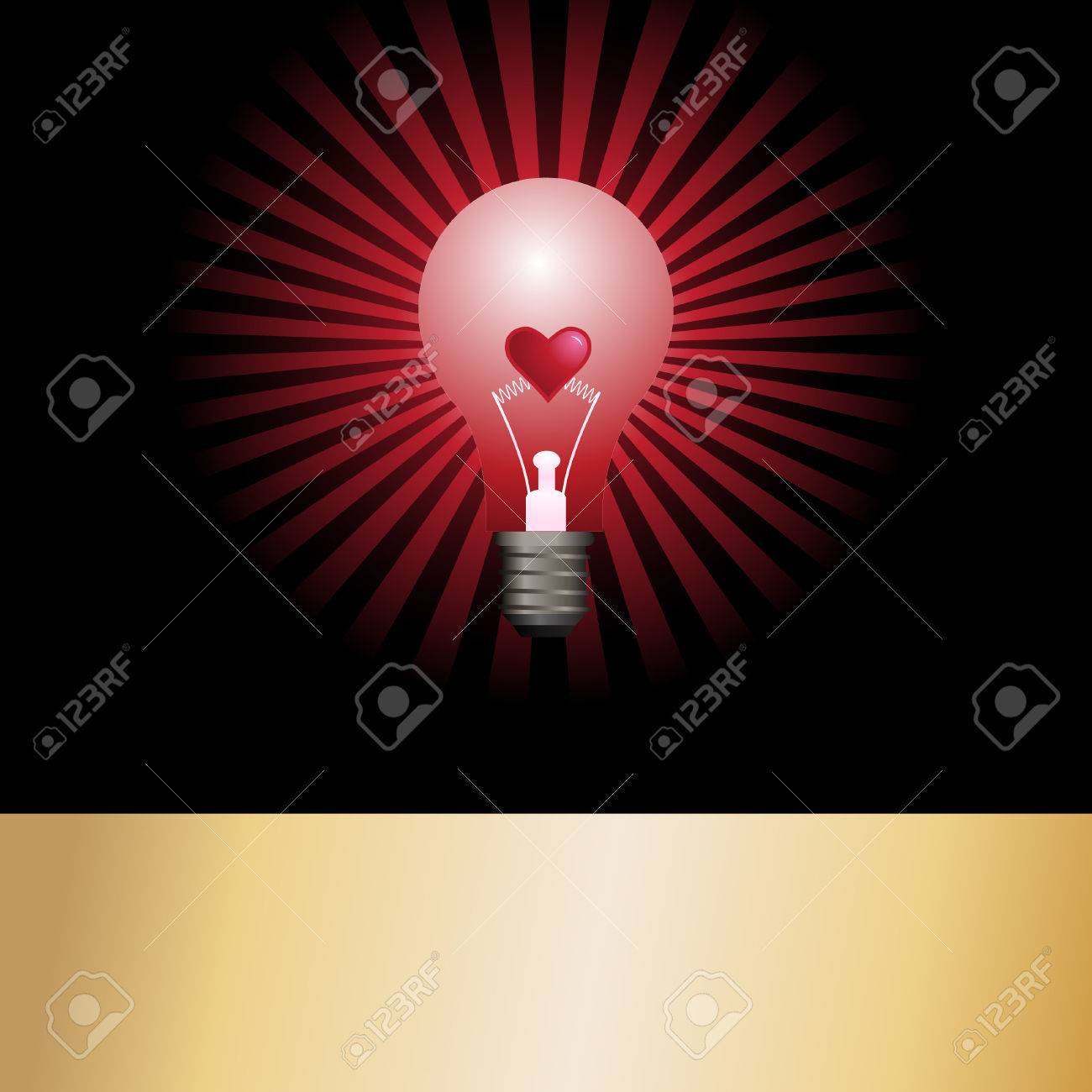 Vector - Bright And Glowing Light Bulb With Star Burst Effect ...:Vector - Vector - Bright and glowing light bulb with star burst effect and  a valentine heart in the center as the filament. Concept: Heated passion.,Lighting