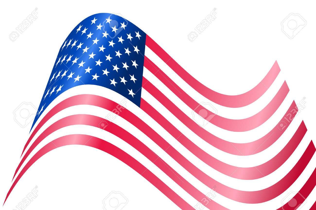 Vector - American USA flag waving with metallic or metal effect. Stock Vector - 2449159