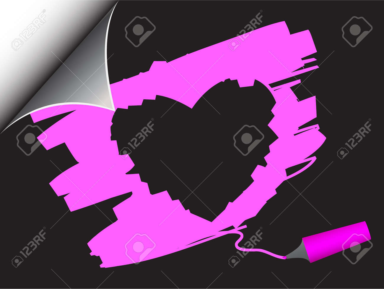Vector - Black paper with realistic page curl and valentine's heart scribble. Copy space for image or text. Stock Vector - 2472121