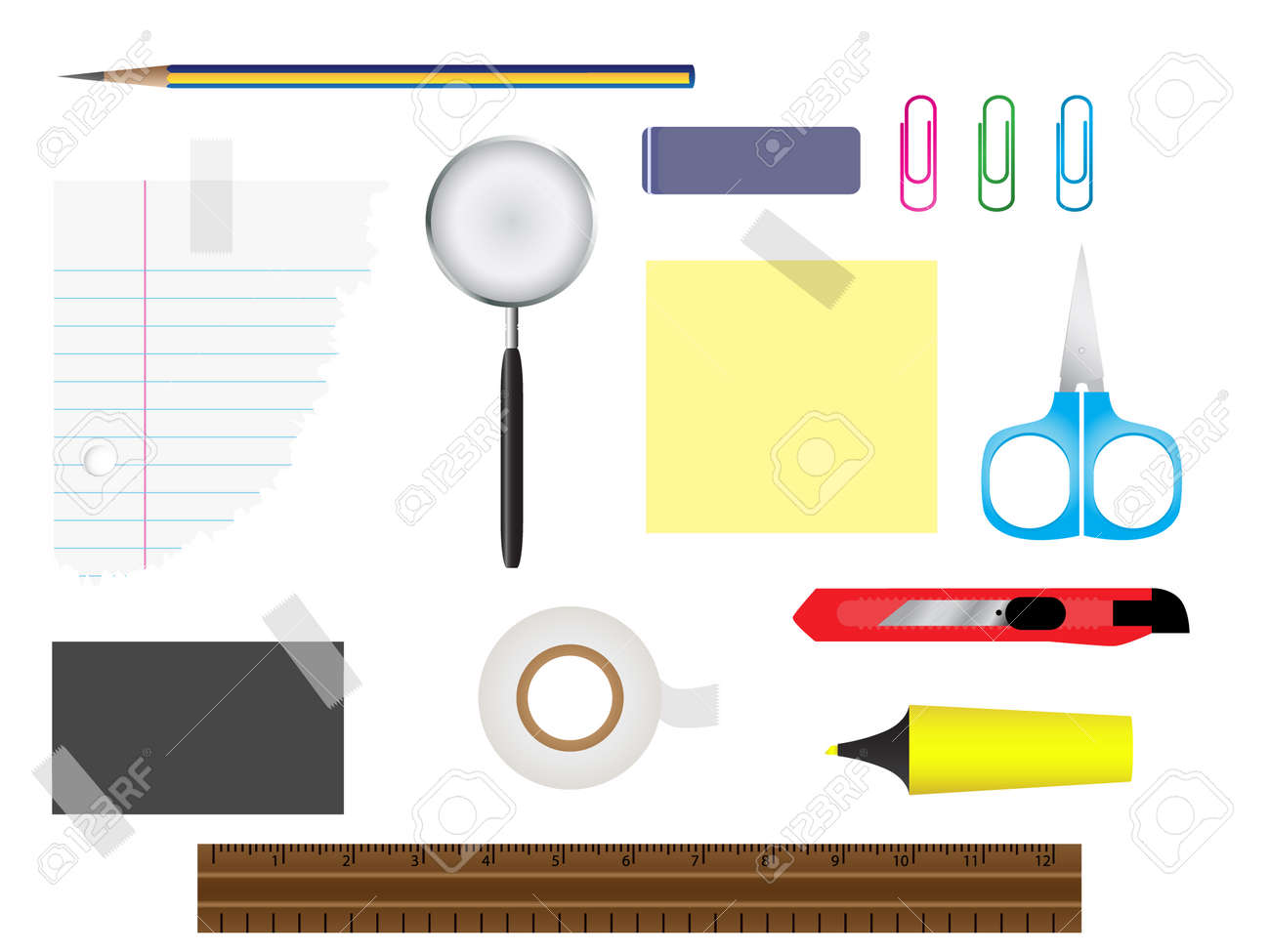 Vector - Stationery set with various writing equipment. Stock Vector - 2848353