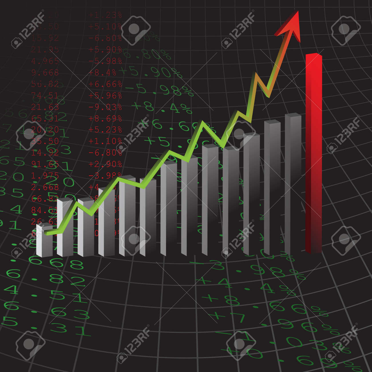 Vector - Graph showing rise in profits or earnings in 3D with drop shadow. Stock Vector - 2904715