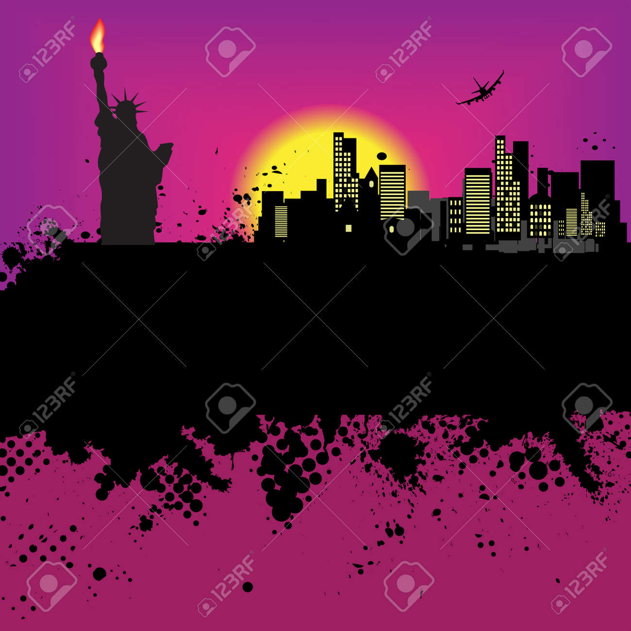Vector - New York Grunge city at sunset with the statue of liberty Stock Vector - 2938064