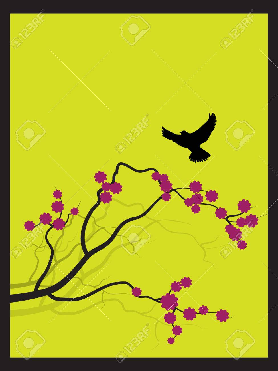 Vector - Japanischer Frühling Blühen Zen-Stil Mit Vogel Auf Dem Weg ...