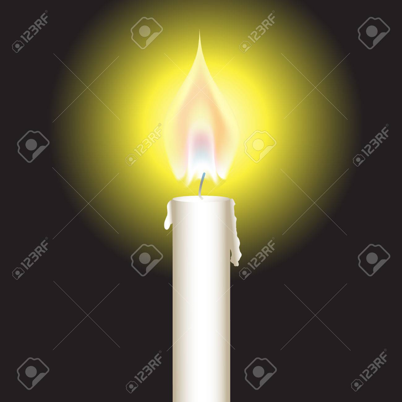Vector - Illustration of a bright glowing candle with fire or flame Stock Vector - 3771161