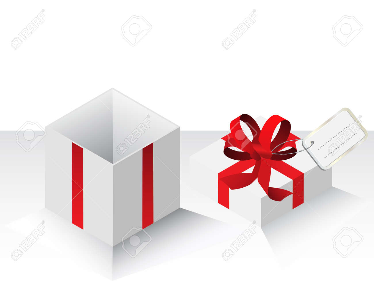 Vector - Illustration of a present or gift wrapped with a red bow and a card Stock Vector - 3771168