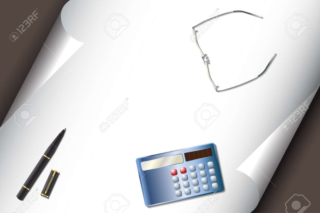 Vector - Stationery set with calculator pen glasses and corner curl paper for text insert Stock Vector - 4353276