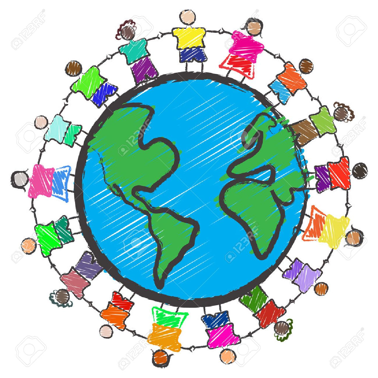 Vector - Illustration of a group of kids with different races holding hands around the globe Stock Vector - 5336284