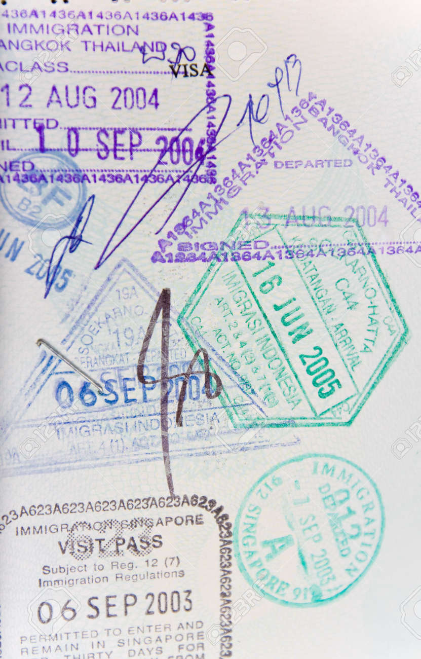Page of generic passport stamps from thailand, indonesia, singapore Stock Photo - 5379324