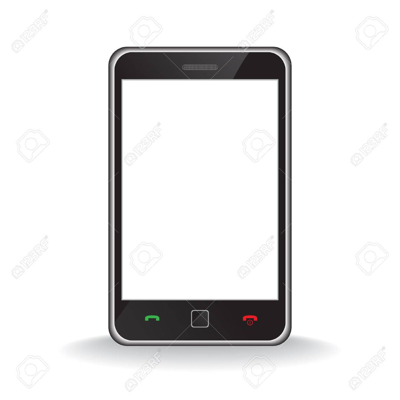 Vector - Illustration of a modern smart phone for mobile communication with white screen for text insertion - 6493108