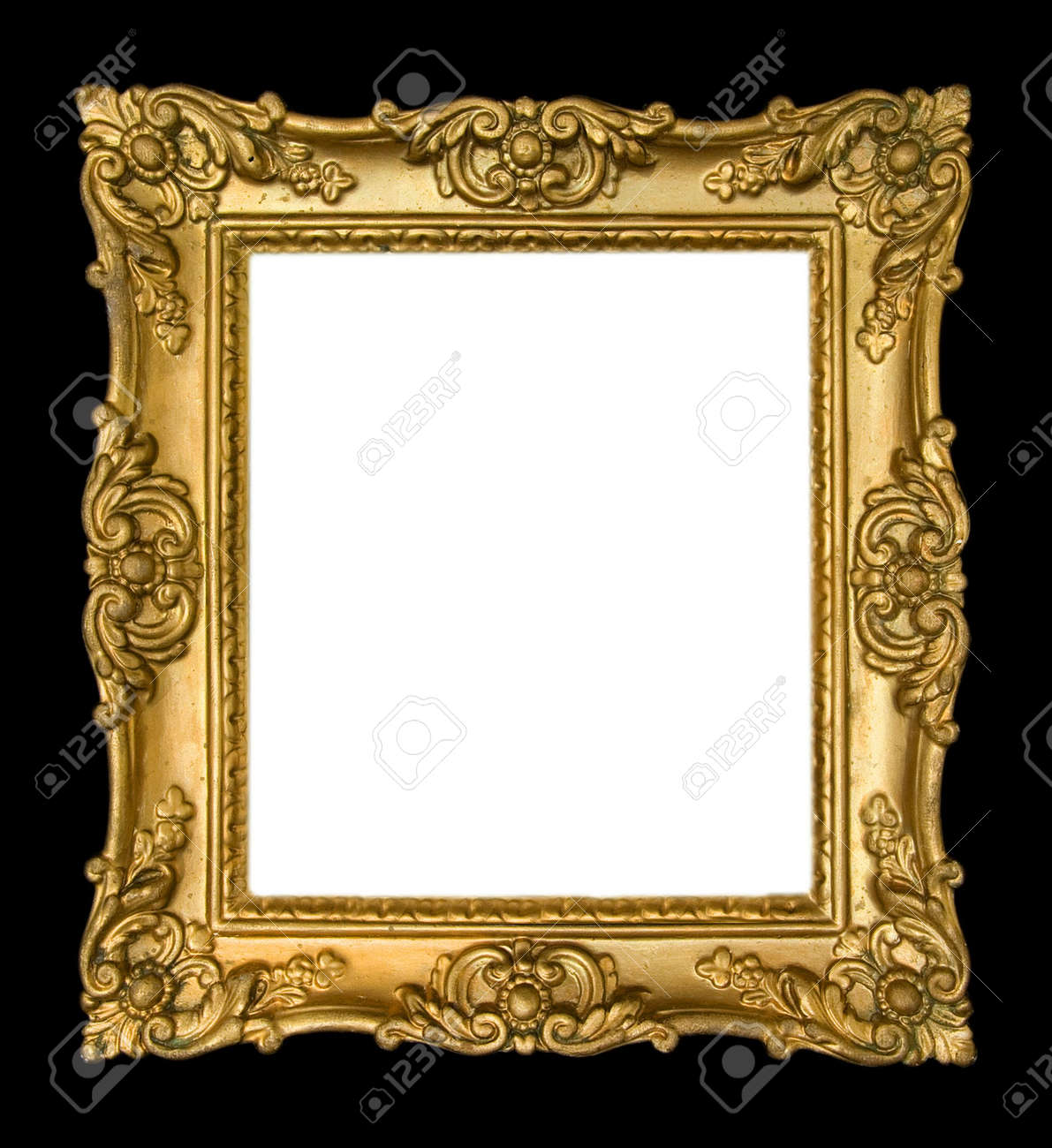ornate vintage gold frame on black background stock photo 3638112