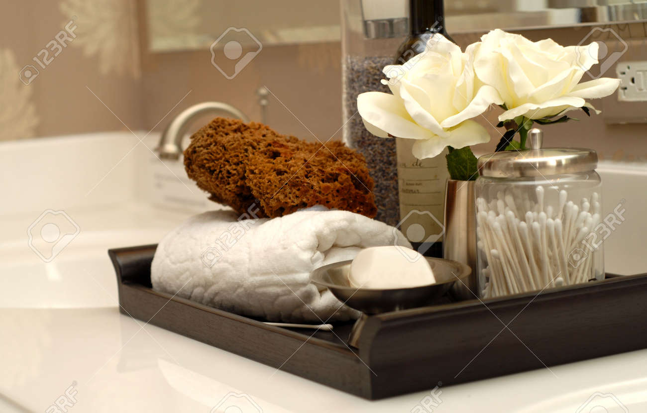 Bathroom Toiletries toiletries and bath items on bathroom vanity stock photo, picture