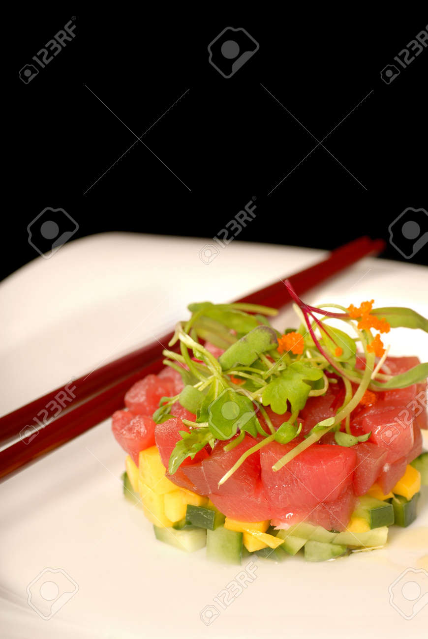 Asian seafood and mango appetizer with micro green salad Stock Photo - 2803047