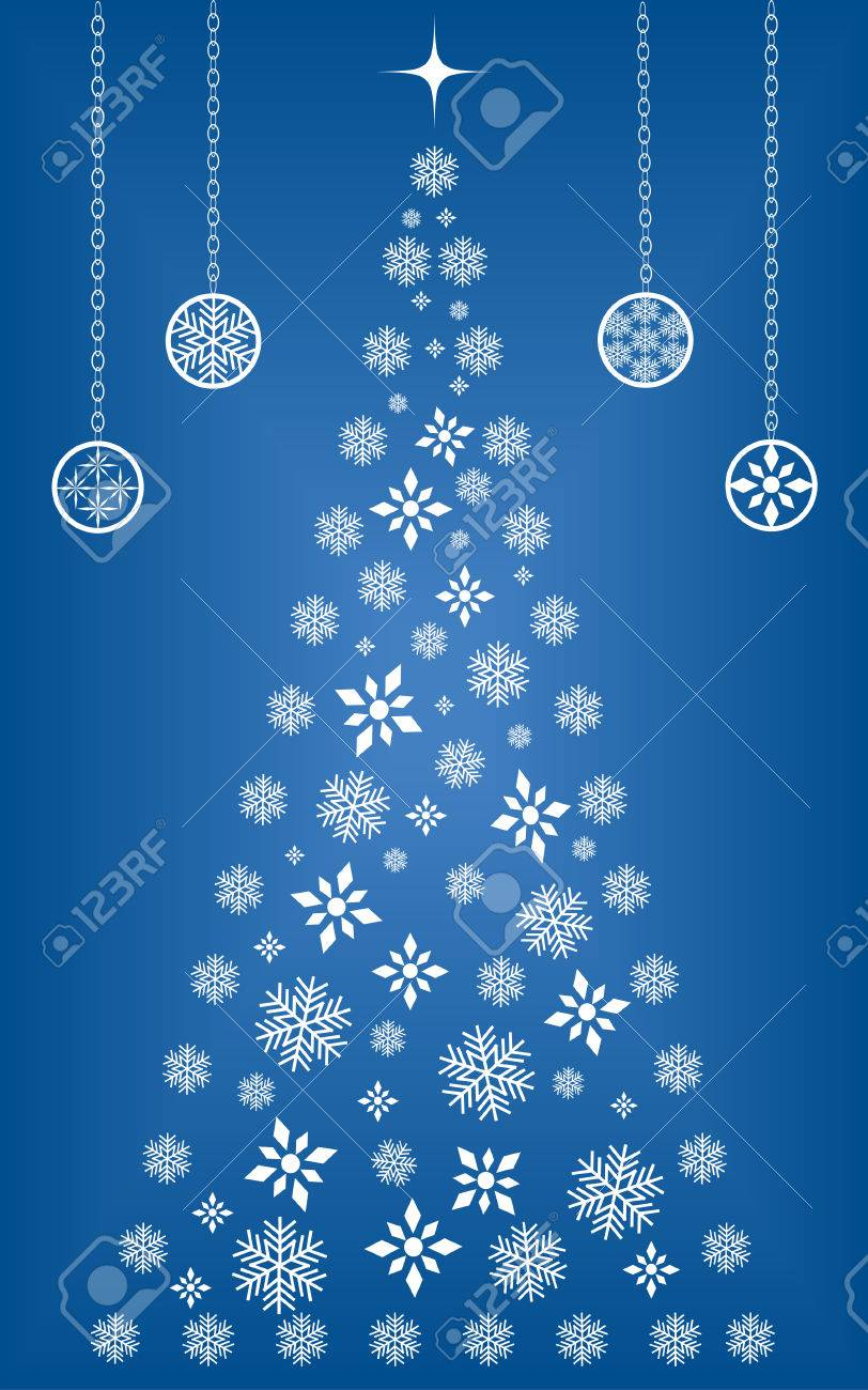 Snowflakes ornaments - Christmas Tree Made Up Of Snowflakes And Diamond Shapes Surrounded By Ornaments Stock Vector 5249696