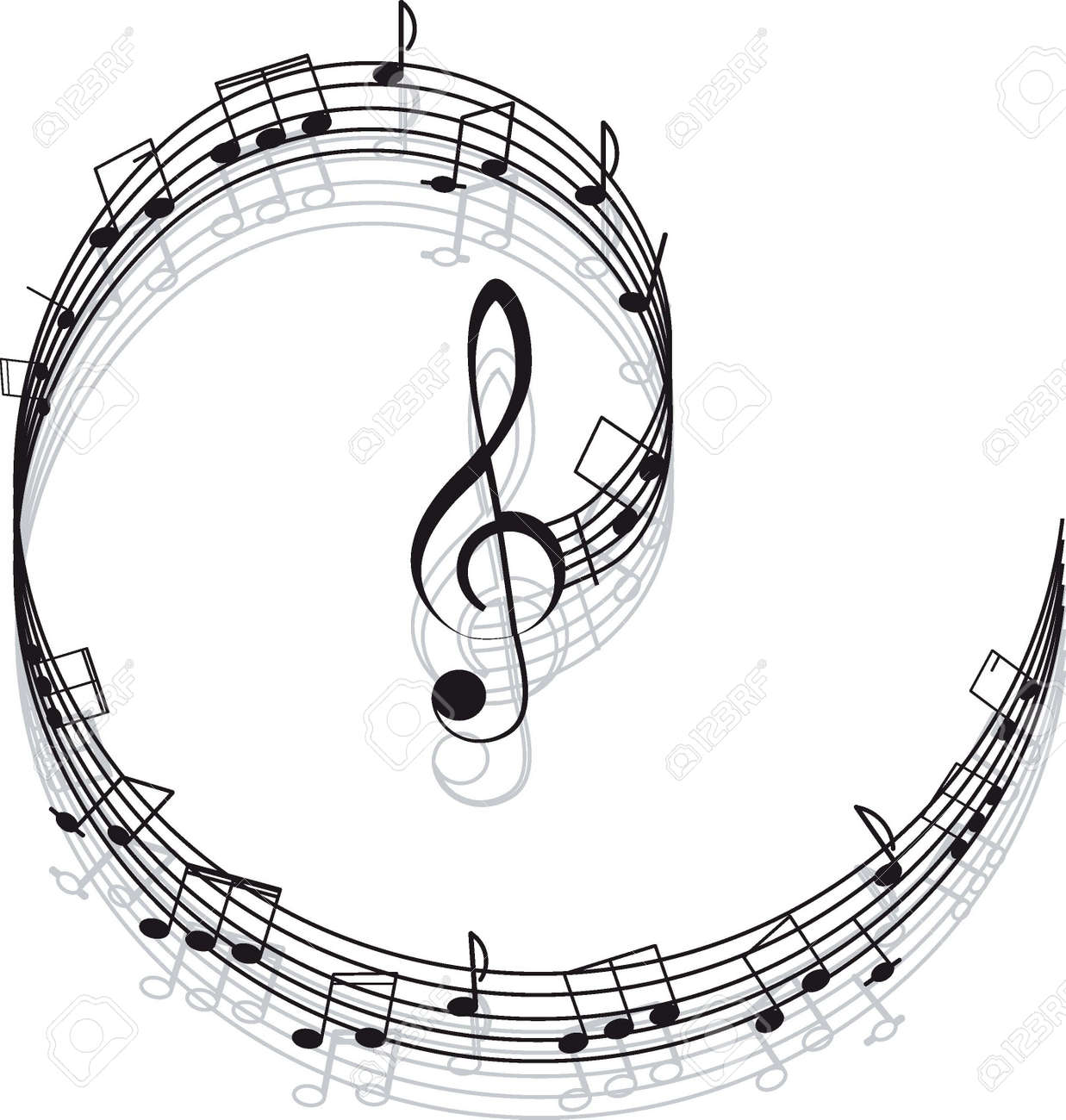Musical notes staff background on white vector by tassel78 image - Bass Clef Music Treble Clef And Notes For Your Design On A White Background
