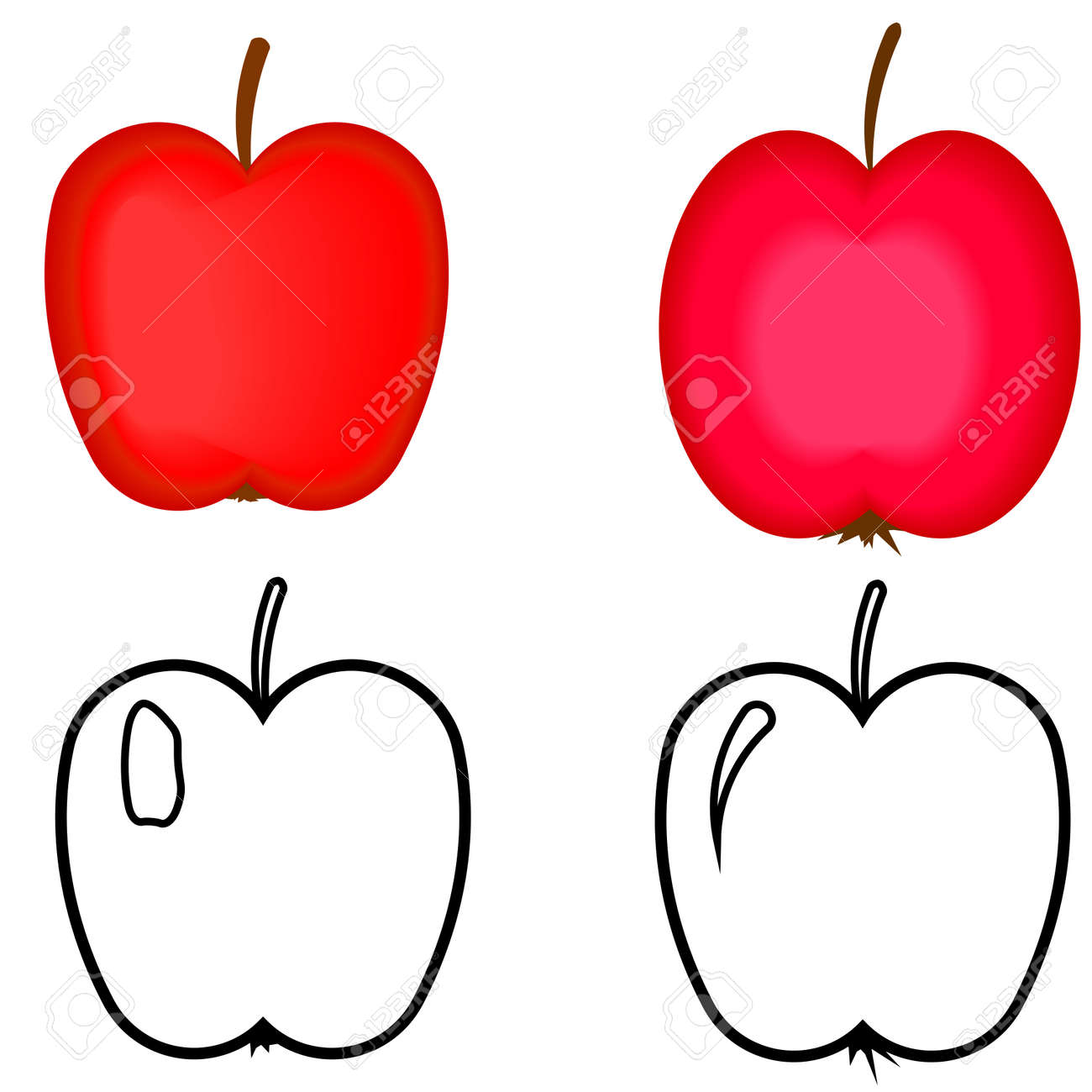 Set Of Red Apples Apples For Coloring Book Royalty Free Klipartlar