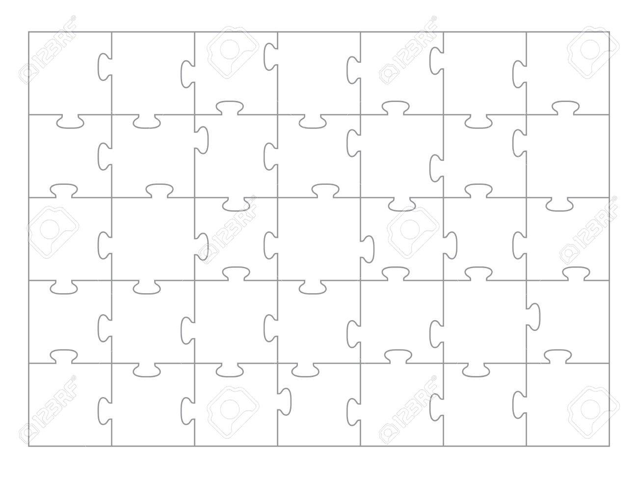 Jigsaw Puzzle Template 35 Pieces Stock Vector