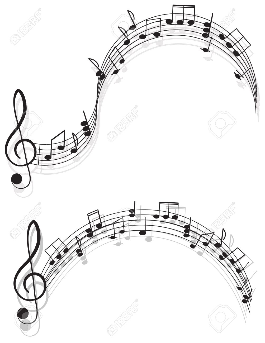 Music. two treble clefs and notes for your design on a white background. Stock Vector - 20341074
