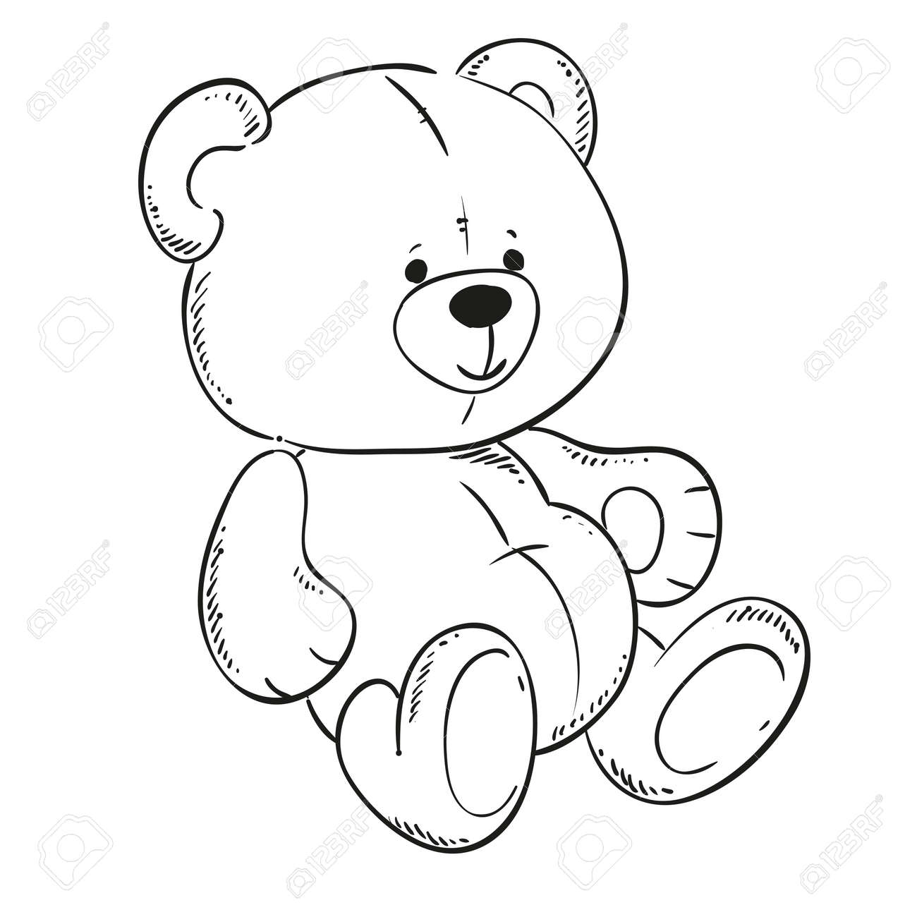 Cute Teddy Bear. Black Outline For Coloring Book. Vector Contour ...