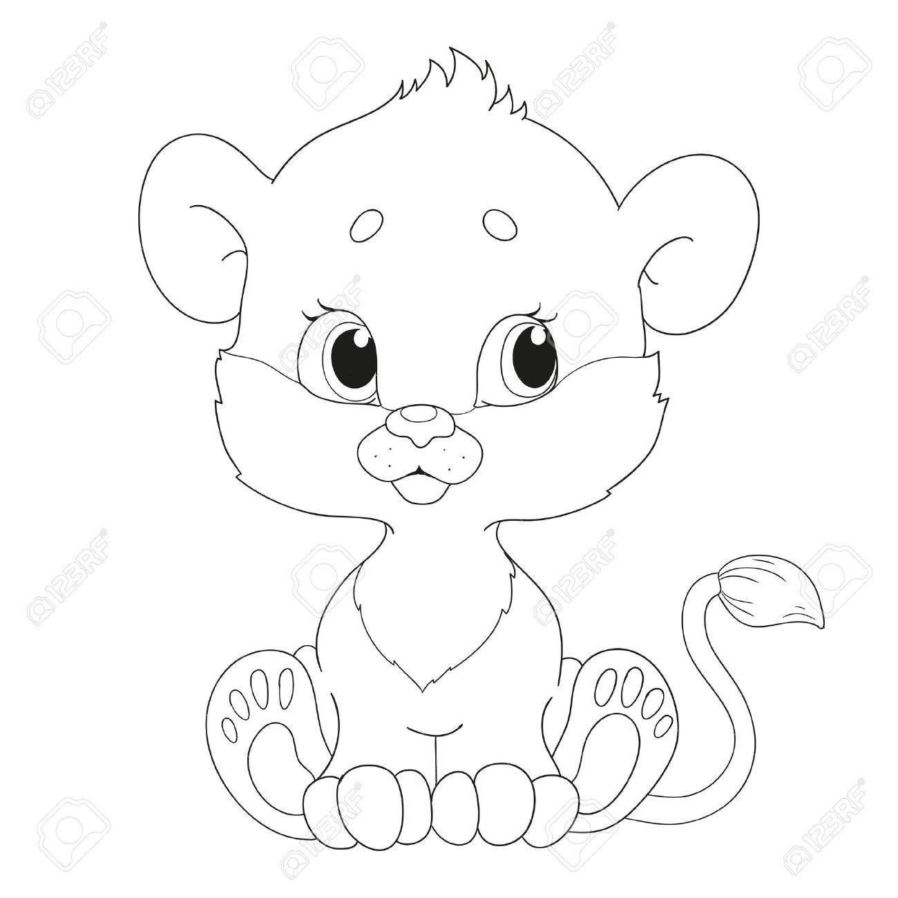 かわいいライオンの赤ちゃんキャラクター塗り絵のイラスト素材ベクタ