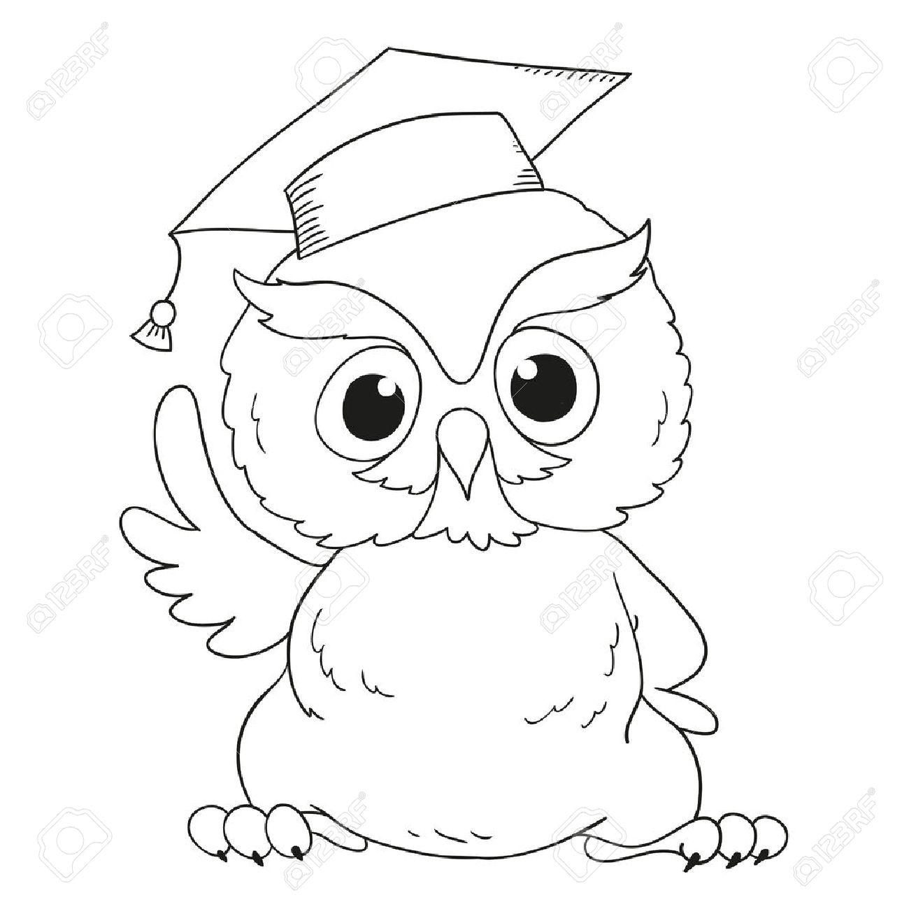 Búho De La Graduación Personaje De Dibujos Animados. Para Colorear