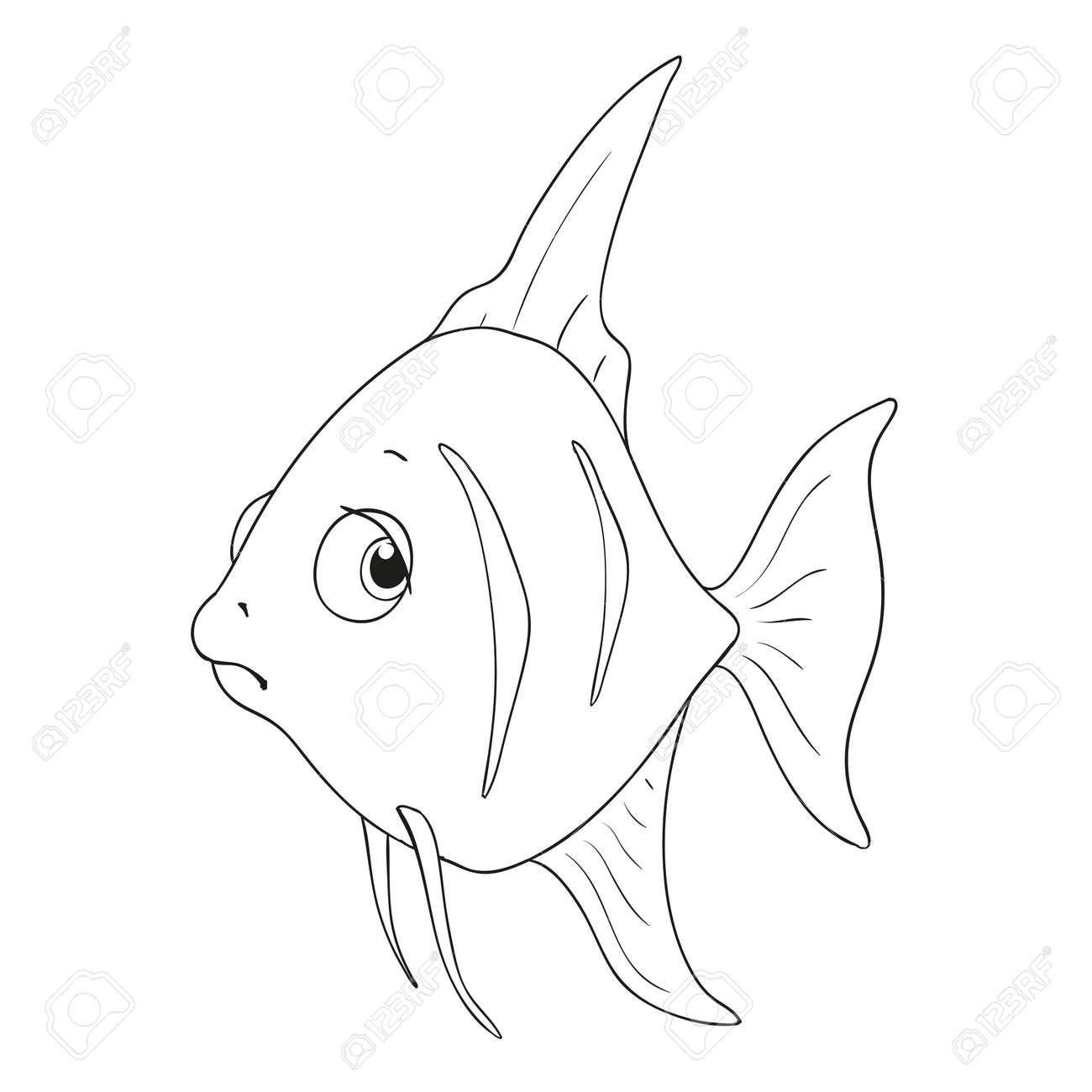 漫画文字の魚塗り絵のため分離する悲しい魚ベクトルのイラスト素材