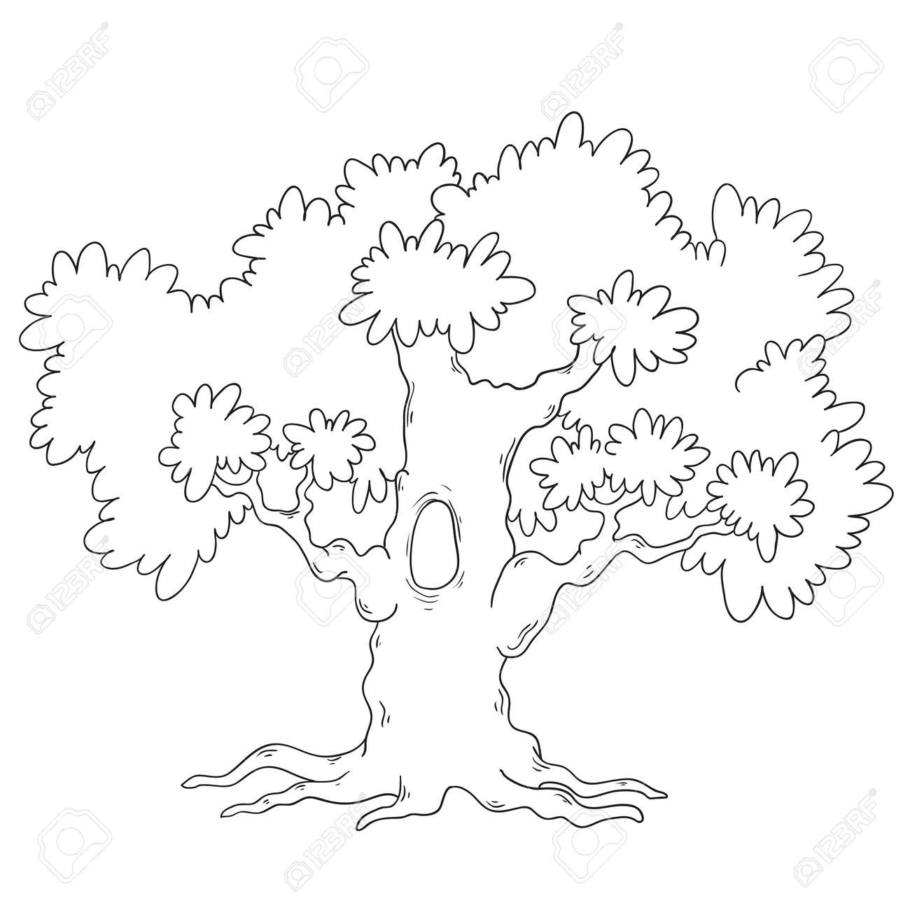Tree Coloring Book. Cartoon Tree Circuit. Vector Isolated Royalty ...