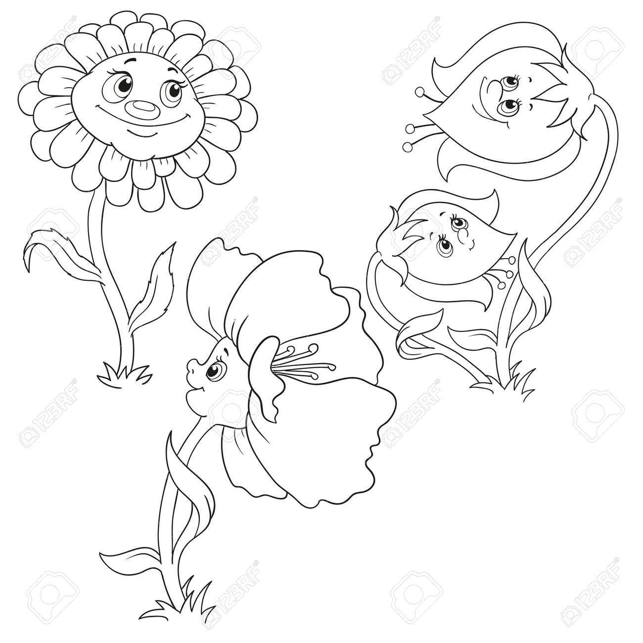Set Flowers For Coloring Book Bell Poppy Gerbera Cartoon Characters Vector