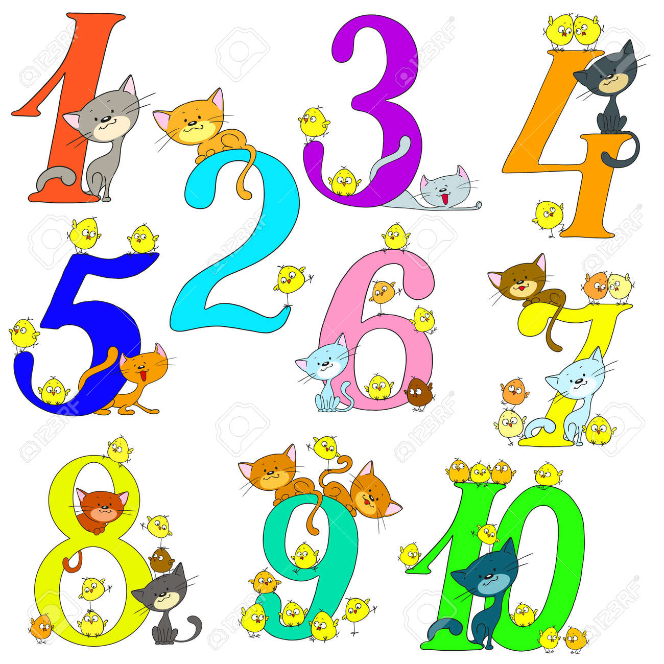 Collection Of Funny Numbers Cats And Chickens Cheerful Greetings Anniversary Cartoon Cute